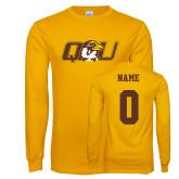 Gold Long Sleeve T Shirt-QU Hawk Head, Custom Tee w/ Name and #