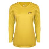 Ladies Syntrel Performance Gold Longsleeve Shirt-QU Hawk Head