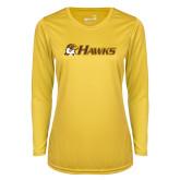 Ladies Syntrel Performance Gold Longsleeve Shirt-Hawks w/ Hawk Head