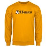 Gold Fleece Crew-Hawks w/ Hawk Head