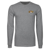 Grey Long Sleeve T Shirt-QU Hawk Head
