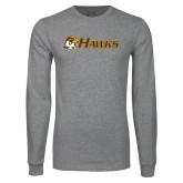 Grey Long Sleeve T Shirt-Hawks w/ Hawk Head