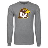 Grey Long Sleeve T Shirt-Hawk Head
