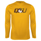 Performance Gold Longsleeve Shirt-QU Hawk Head