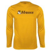 Performance Gold Longsleeve Shirt-Hawks w/ Hawk Head