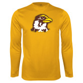 Performance Gold Longsleeve Shirt-Hawk Head