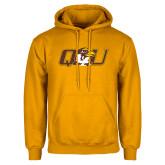 Gold Fleece Hoodie-QU Hawk Head