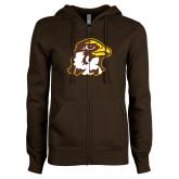 ENZA Ladies Brown Fleece Full Zip Hoodie-Hawk Head