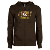 ENZA Ladies Brown Fleece Full Zip Hoodie-Baseball