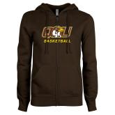ENZA Ladies Brown Fleece Full Zip Hoodie-Basketball