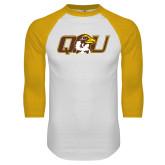 White/Gold Raglan Baseball T Shirt-QU Hawk Head