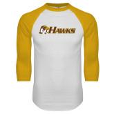 White/Gold Raglan Baseball T Shirt-Hawks w/ Hawk Head