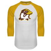 White/Gold Raglan Baseball T Shirt-Hawk Head