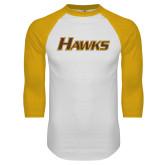White/Gold Raglan Baseball T Shirt-Hawks