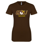 Next Level Ladies SoftStyle Junior Fitted Dark Chocolate Tee-Soccer