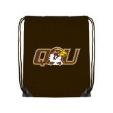Brown Drawstring Backpack-QU Hawk Head