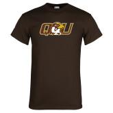 Brown T Shirt-QU Hawk Head