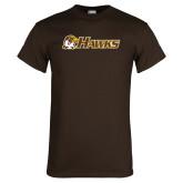 Brown T Shirt-Hawks w/ Hawk Head