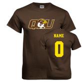 Brown T Shirt-QU Hawk Head, Custom Tee w/ Name and #