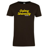 Ladies Brown T Shirt-Script