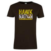 Ladies Brown T Shirt-Hawk Nation