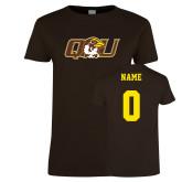 Ladies Brown T Shirt-QU Hawk Head, Custom Tee w/ Name and #