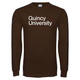 Brown Long Sleeve T Shirt-Wordmark