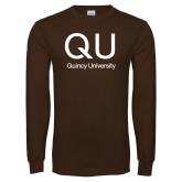 Brown Long Sleeve T Shirt-QU Quincy University