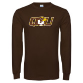 Brown Long Sleeve T Shirt-QU Hawk Head