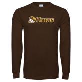 Brown Long Sleeve T Shirt-Hawks w/ Hawk Head