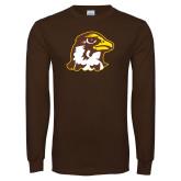 Brown Long Sleeve T Shirt-Hawk Head