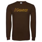 Brown Long Sleeve T Shirt-Hawks