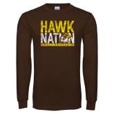 Brown Long Sleeve T Shirt-Hawk Nation