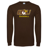 Brown Long Sleeve T Shirt-Baseball