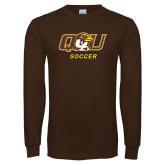 Brown Long Sleeve T Shirt-Soccer