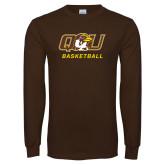 Brown Long Sleeve T Shirt-Basketball