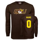 Brown Long Sleeve T Shirt-QU Hawk Head, Custom Tee w/ Name and #