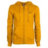 ENZA Ladies Gold Fleece Full Zip Hoodie-Hawks w/ Hawk Head