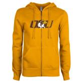 ENZA Ladies Gold Fleece Full Zip Hoodie-QU Hawk Head