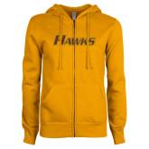 ENZA Ladies Gold Fleece Full Zip Hoodie-Hawks