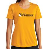 Ladies Syntrel Performance Gold Tee-Hawks w/ Hawk Head