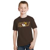 Youth Brown T Shirt-QU Hawk Head