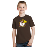 Youth Brown T Shirt-Hawk Head