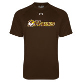 Under Armour Brown Tech Tee-Hawks w/ Hawk Head