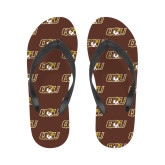 Ladies Full Color Flip Flops-QU Hawk Head