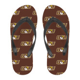 Full Color Flip Flops-QU Hawk Head