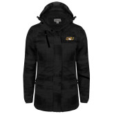 Ladies Black Brushstroke Print Insulated Jacket-QU Hawk Head