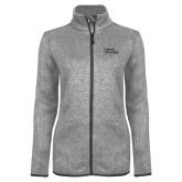 Grey Heather Ladies Fleece Jacket-Wordmark
