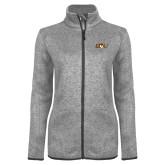 Grey Heather Ladies Fleece Jacket-QU Hawk Head