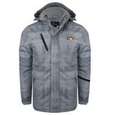 Grey Brushstroke Print Insulated Jacket-QU Hawk Head